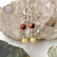 Goldstone & Calcite Silver Earrings